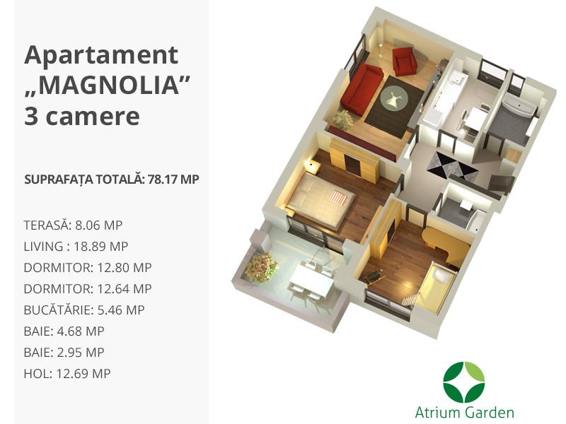 """Apartament """"MAGNOLIA"""" – 3 camere"""