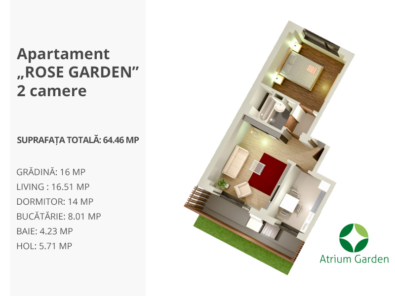 "Apartament ""ROSE GARDEN"" – 2 camere"